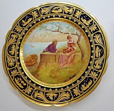 Royal Vienna Hand Painted Cabinet Plate Ornate Raised Gold Artist Signed Riemer~