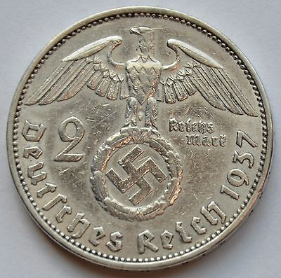 2 Mark 1937 A Third Reich Nazi Germany Silver coin