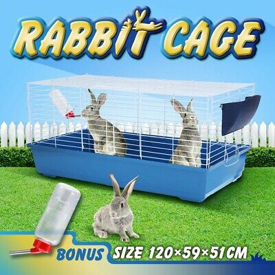 120cm Pet Rabbit Bunny Hutch Ferret Guinea Pig Cage Run Chinchilla Water Bottle