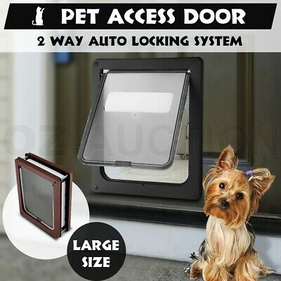 Large 2 Way Lockable Locking Pet Cat Dog Safe Security Brushy Flap Door Black