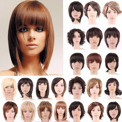 Mix Blonde Black Short Hair Wig Natural Women Ladies Full Curly Straight Wigs AY