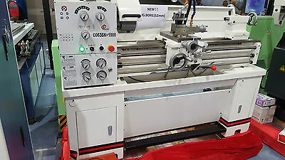 """40""""- 52mm Bore Geared Head Precision Metal Lathe With Coolant/ Light/ Footbrake"""