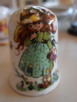 Adorable Fenton China Company Thimble Girl with Doll. In Dome COMBINED P&P AVAIL