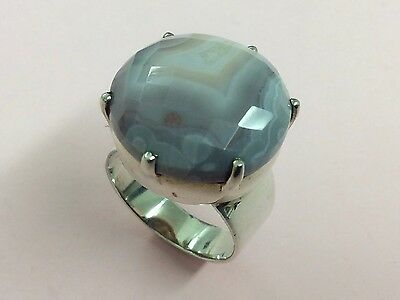 Vintage Sterling Silver & Banded Agate Ring Size O 1980