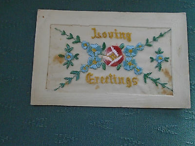 Ww1 Vintage - Loving Greetings - Silk Postcard