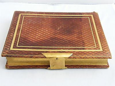 Antique-Victorian-Tooled Leather Bound Cabinet Card Photo Album With Clasp-c1890