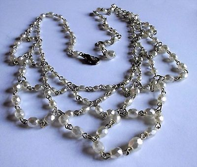 Vintage 1970S Silver Tone Cream Pearl Bead Scalloped Drop Necklace