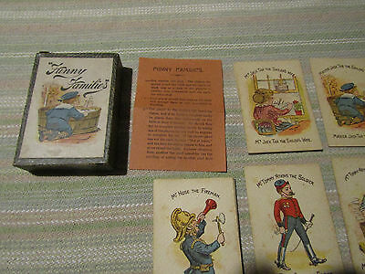 Late Victorian  ANTIQUE  PLAYING CARDS  ' FUNNY FAMILIES '  Boxed Tommy Atkins +