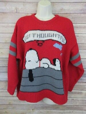 """VTG Peanuts Snoopy """"How Thoughtful"""" red knit sweater size Large X-Large"""