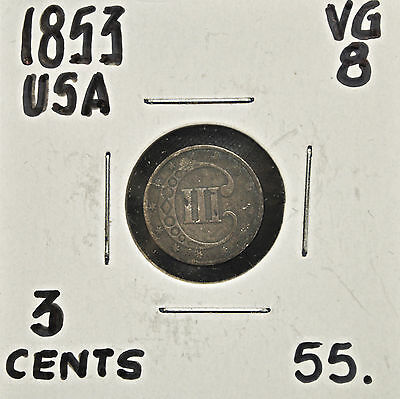 1853 United States 3 Cents VG-8