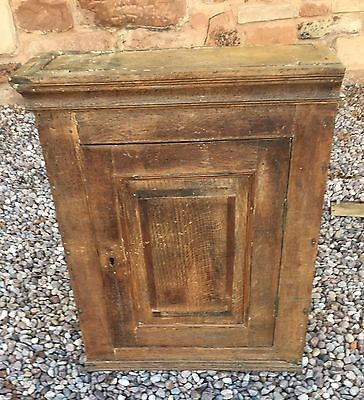 Antique 18th Century Oak And Mahogany Cross Banded Cupboard
