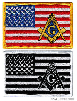 LOT TWO MASONIC US FLAG EMBROIDERED PATCH iron-on FREEMASON SQUARE COMPASS MASON
