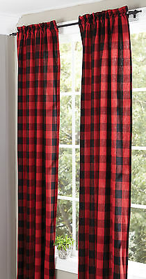 Black and Red Buffalo Check Panels by Park Designs, 2 Sizes, Lined w/Tiebacks
