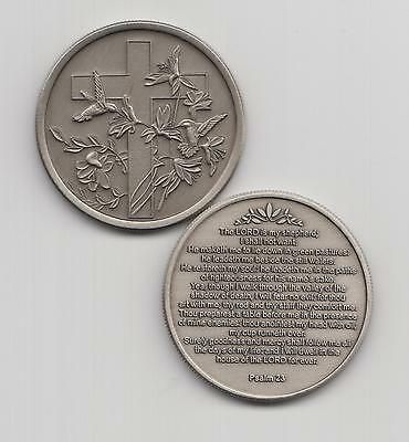 Psalm 23 coin KJV with Cross and Hummingbirds Antique Nickel Medal Bereavement