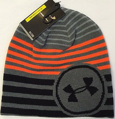 NWT youth Boys one size UNDER ARMOUR winter HAT GRAY/Orange beanie reversible
