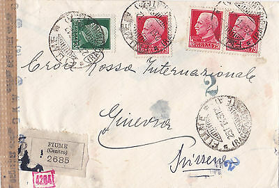 1943 Ww2 Italy  Fiume Registered Cover To The Red X Censored By Germany 25*
