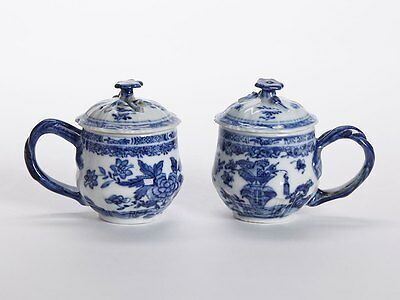 Antique Chinese Qianlong Pair Blue & White Lidded Cups 18 C