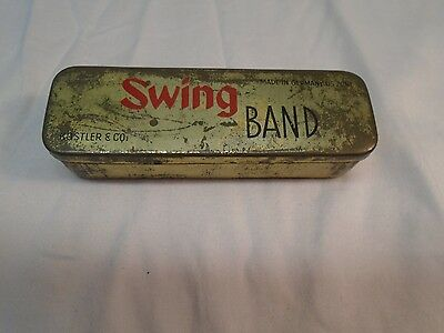 Vintage Swing Band Harmonica Metal Hinged Tin made in Germany Kostler and Compan