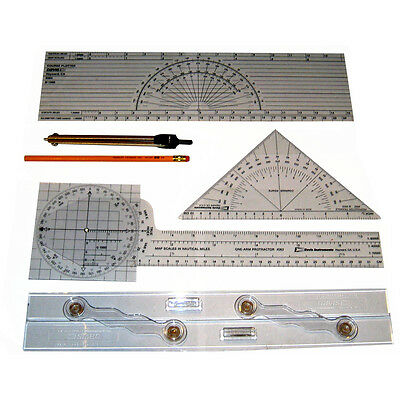Marine Navigation Charting Kit protractor, plotter, protractor triangle, instr.
