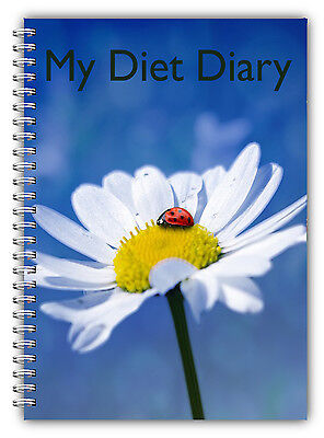 New A5 Wire Bound Diet Diary, Slimming Tracker, Food, Weight Loss Journal Daisy