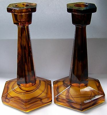 2 x 1930's Davidson Cloud Glass Candle Holders