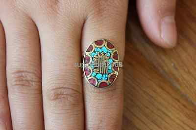 RG265  Nepal Handmade Brass Turquoise Coral Oval Tibetan Mantra Ring US SIZE8