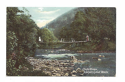 Vintage postcard shaky bridge Llandrindod Wells. SIngle ring cancel 1906