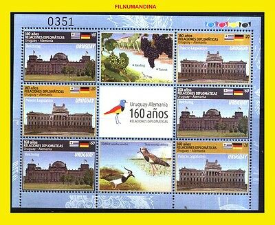 Uruguay 2016 Germany Birds,wines,flags,governement House Minisheet Mnh