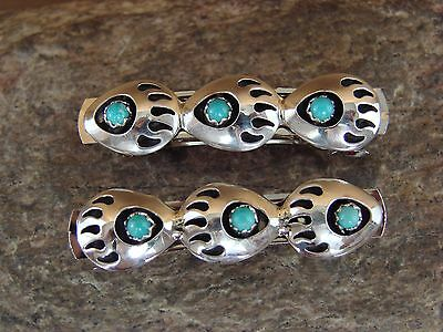 Native American Jewelry Turquoise Bear Paw Hair Barrette Set! Navajo Indian