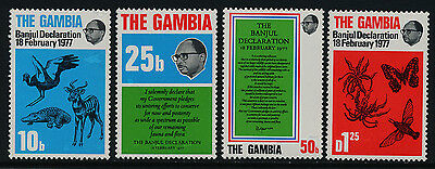 Gambia 367-70 MNH Banjul Declaration, Birds, Insects, Animals, Conservation