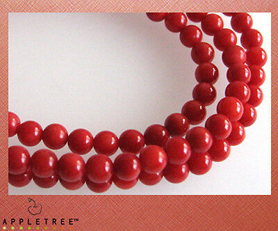 3 Red Coral Loose Beads 4mm (16 inches)  DIY Necklace Top Quality Natural Gem