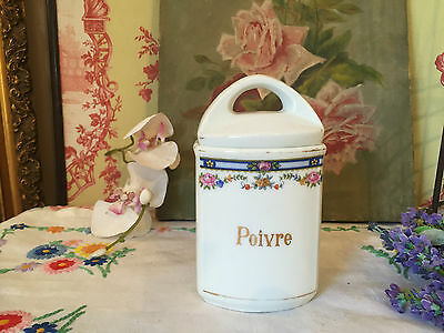 Vintage French Poivre Pepper Pot Lidded Floral Kitchenalia A/F