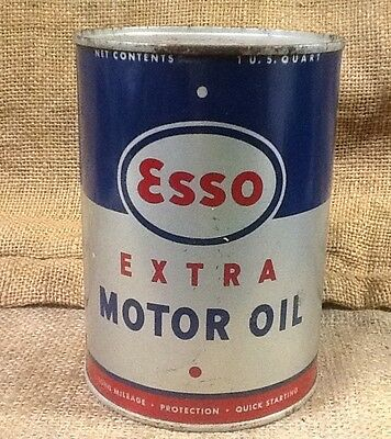 Vintage Esso No. 1 Motor Oil SAE 10 W Can Open And Empty