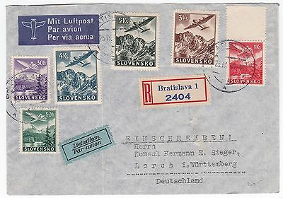 Slovakia to Germany Lorch 1940 Registered Airmail Cover