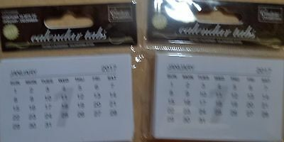 CALENDAR TABS WHITE x 2  pack of 10 calendars 12 months  2017   FREE POST
