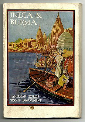 """(A) AMERICAN EXPRESS TRAVEL -  """"INDIA & BURMA""""  TRAVEL GUIDE & INFO 1930 126 pgs"""
