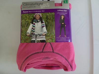 NEW Girls S M L XL Climate Right CUDDL DUDS Fleece Long Underwear Set Pink PJs