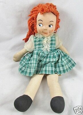 Rag Doll Vinyl Mask Face Freckles Red Yarn Hair Character 1950s Vintage