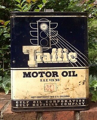 Vintage Traffic Motor Oil 2 Gallon Metal Can, Gulf Oil & Gas