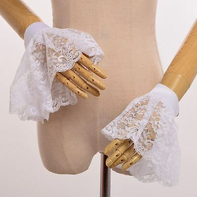Adult's White Wrist Cuffs Victorian Costume Accessory Cosplay Lace Wrist Cuffs