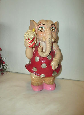Vintage Plastic Lady Elephant Bank, Dressed Up In Red And Pink