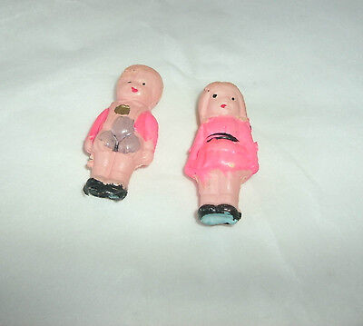 Vintage Miniature Toy Set Celluloid Boy And Girl, Japan, 1 3/4""