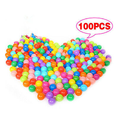100x Multi-Color Cute Kids Soft Play Balls Toy for Ball Pit Swim Pit Ball Pool b