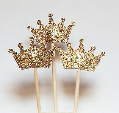 Set of 24 Gold Glitter Crown Cupcake Toppers Wedding Picks Party BABY SHOWER  TB