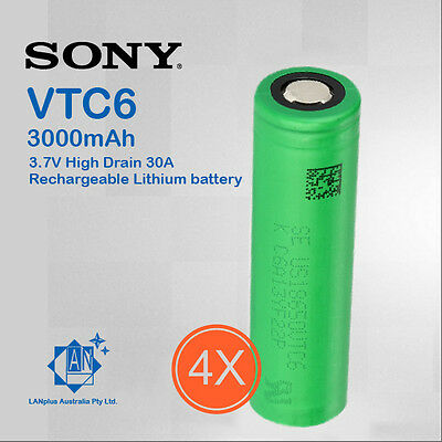 4x Sony 18650 VTC6 Lithium Battery 3000mAh 3.7v High Drain 30A rechargeable