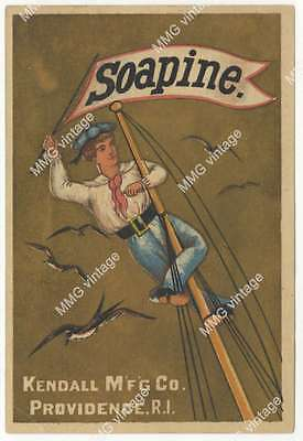 AKN-055 Trade Card Soapine Kendall Mfg Co Sailor at Top of Mast