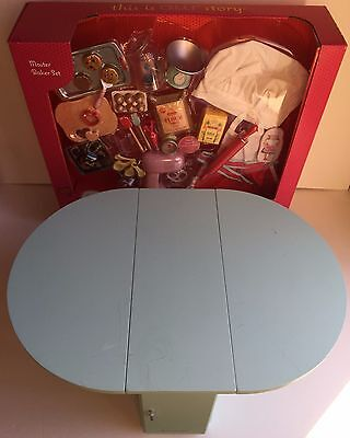 American Girl Blue Doll Baking Table & Treats and Accessories, Folding Sides