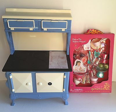 American Girl Kit's Blue Oven Stove Kitchen Cooktop and Accessories