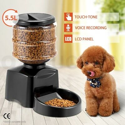 5.5L Automatic Pet Feeder Electronic Digital Display Cat Dog Food Bowl Dispenser