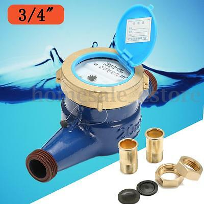 """3/4"""" 20mm Brass Flow Measure Tape Water Meter Copper Cold Dry Counter For Garden"""